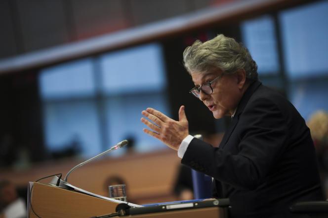 Le candidat de la France à la Commission européenne, Thierry Breton, lors de son audition par les députés européens, le jeudi 14novembre à Bruxelles.