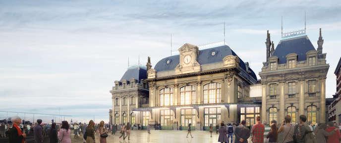 Vue extérieure de la gare de Saint-Omer.
