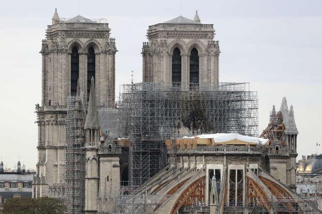 Vue du chantier de Notre-Dame de Paris, le 9 septembre 2019.