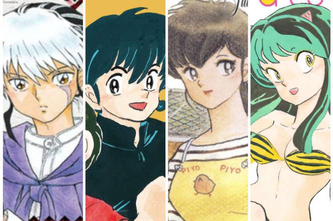 Mao, Ranma, Kyoko et Lamu, quatre des nombreux personnages créés par la mangaka Rumiko Takahashi.