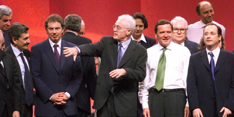 French Prime Minister Lionel Jospin (C) gestures at the end of a meeting of European socialist leaders in Paris May 27 called to plan strategy of the European Socialist parties for the European parliamentary elections. At left is Italian Prime Minister Massimo d'Alema, British Prime Minister Tony Blair (2nd L), German Chancellor Gerhard Schroeder (2nd R, in white shirt) and French Socialist Part General Secretary Francois Hollande (R).  MAL/WS - RP1DRIIKJLAB