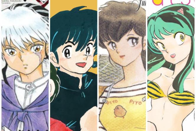 Mao, Ranma, Kyoko et Lamu, personnages créés par la mangaka Rumiko Takahashi.