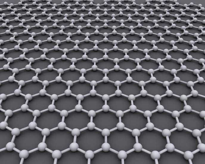 Représentation graphique du graphène. La structure cristalline idéale du graphène est une grille hexagonale.
