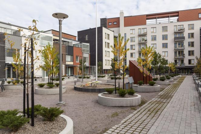 Le quartier résidentiel de Kalasatama, à Helsinki, en octobre 2014.