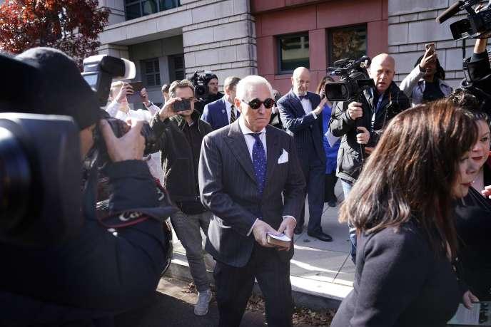 Roger Stone, lors de son arrivée au tribunal à Washington, le 15 novembre.