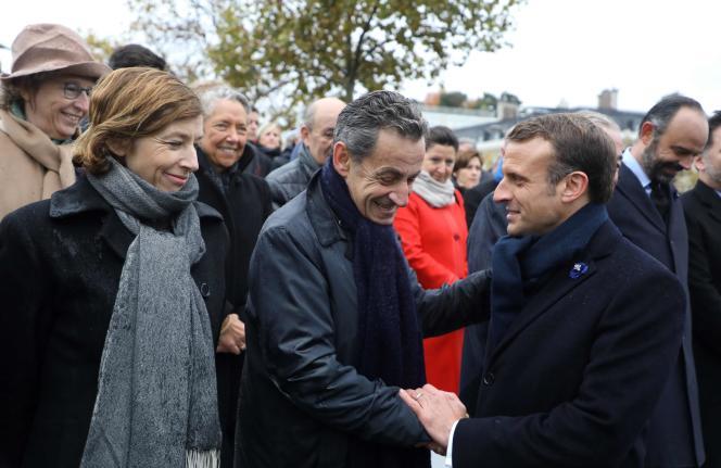 Florence Parly, ministre des armées, Nicolas Sarkozy et Emmanuel Macron, lors des cérémonies de commémoration du 11-Novembre, à Paris.