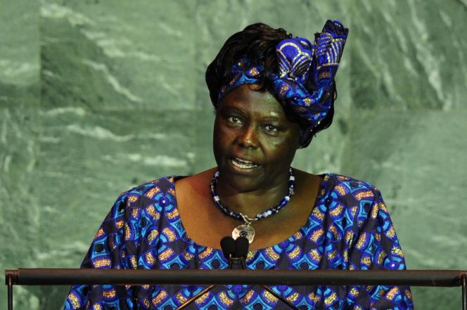 La prix Nobel de la paix Wangari Maathai, le 22 septembre 2009, lors du sommet sur le climat à l'ONU, à New York.