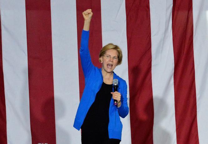 Elizabeth Warren , sénatrice du Massachusets et candidate à la primaire démocrate, le 11 novembre, àExeter (New Hampshire).