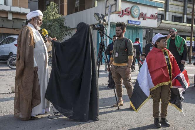 A Kerbala, le 13 novembre 2019, manifestation organisée par les miliciens de la Mobilisation populaire.