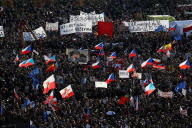 Lors de la manifestation contre le gouvernement d'Andrej Babis dans le centre de Prague, le 16 novembre.