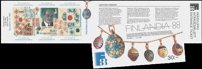 Fabergé, sur un carnet de timbres finlandais, 1988.
