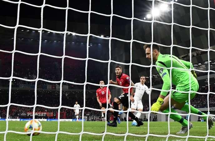 Antoine Griezmann (maillot blanc) n'avait plus marqué avec l'équipe de France depuis 7 matchs, jusqu'à ce but contre l'Albanie à Tirana, dimanche17novembre.