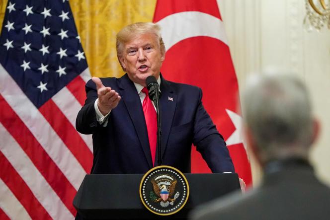 Donald Trump, lors de la conférence de presse en présence du président turc Erdogan, le 13novembre à la Maison Blanche.