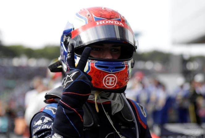 Pierre Gasly au terme du Grand Prix du Brésil, qu'il a fini à la deuxième place le 17 novembre