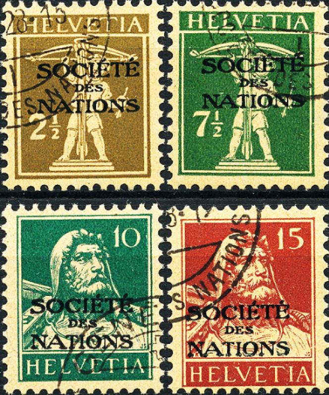 Timbres de la SDN des années 1930.