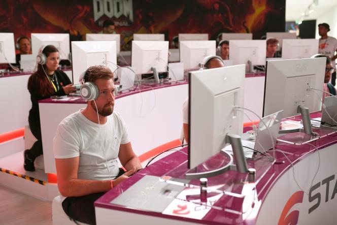 L'interface Google Stadia, en test au salon du jeu vidéo Gamescom de Cologne (Rhénanie-du-Nord-Westphalie), le 21 août.