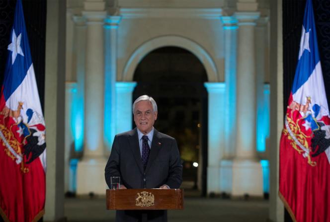 Sebastian Piñera, le président chilien, dans son allocution télévisée à Santiago, le17novembre.