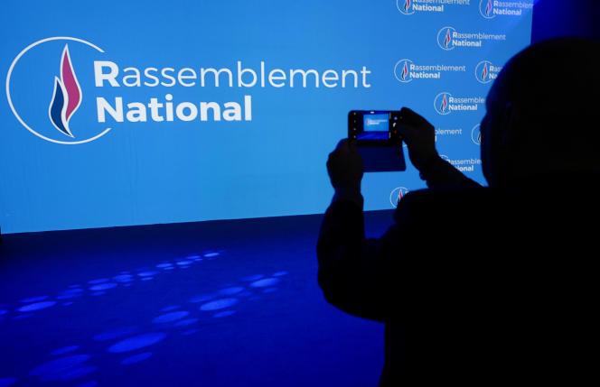 Le logo du Rassemblement national, le 1er juin2018 àParis.
