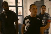 De gauche à droite : Djebril Zonga (Gwada), Alexis Manenti (Chris), Damien Bonnard (Stéphane) et Steve Tientcheu (de dos).