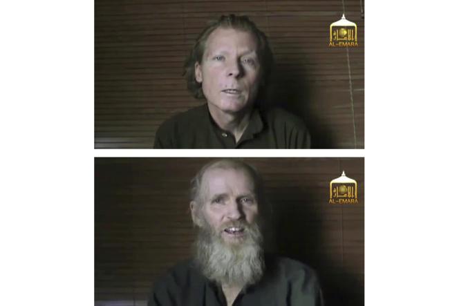 Photos extraites d'une vidéo tournée par les talibans, le 21 juin 2017, des deux prisonniers libérés par les talibans : en haut, l'Australien Timothy Weekes, en bas, l'Américain Kevin King.
