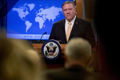 Le secrétaire d'Etat américain Mike Pompeo précise la position de la Maison Blanche sur les colonies israéliennes, le 18 novembre à Washington.