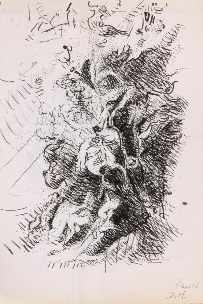 Dora Maar (1907-1997), sans titre, dessin à l'encre sur papier monogrammé avec la mention «d'après D.M.» (oeuvre classique vue par DM) en bas à droite. Cachet de la vente d'atelier au dos. Format 34 x 27 cm. Estimation 300/400 euros.