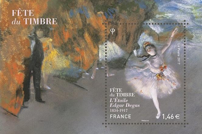« L'Etoile», timbre-poste d'après Degas paru en 2017, pastel sur monotype conservé au Musée d'Orsay. Mise en page par Marion Favreau. Tirage: 500000 exemplaires.