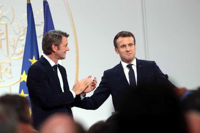 Francois Baroin, président de l'Association des maires de France, et Emmanuel Macron, à l'Elysée, en novembre2019.