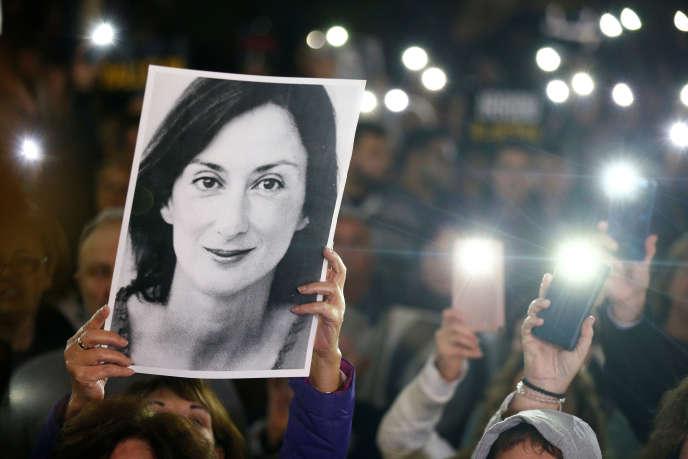 Manifestation pour demander la démission du premier ministre maltais, à la suite de l'arrestation de l'un des plus éminents hommes d'affaires du pays dans le cadre de l'enquête sur le meurtre de la journaliste Daphne Caruana Galizia. ALa Valette, le 20novembre 2019.