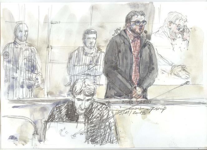 Dessin d'audience montrant Bilal Taghi, debout, devant la cour d'assises spéciale de Paris le 19 novembre.