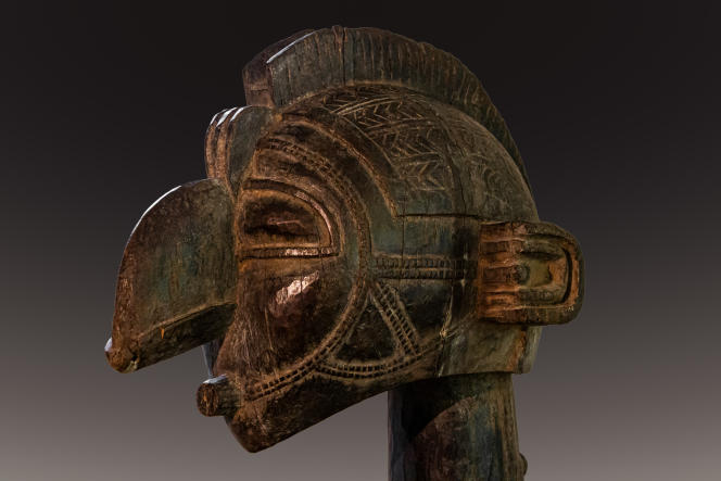 Détail d'un grand masque d'épaules Nimba d'mba yambani, Baga, Guinée Conakry (circa 1960).
