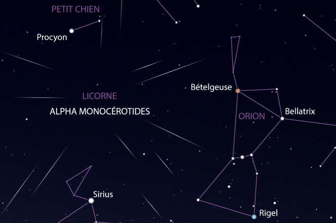 Dans la nuit du jeudi 21 au vendredi 22 septembre, une pluie d'étoiles filantes pourrait apparaître autour de la constellation de la Licorne.