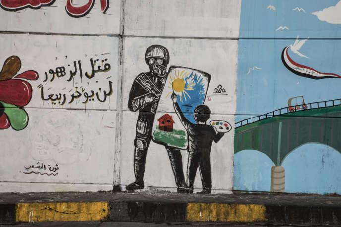 Baghdad, Irak, le 14 novembre Une peinture murale aux abords de la place Tahrir.