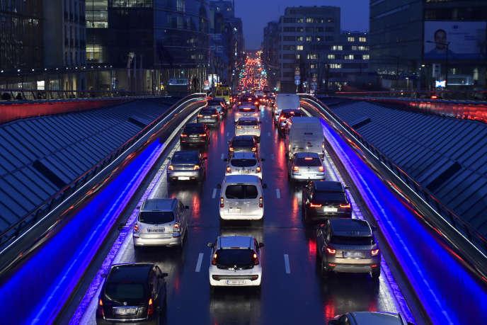 Embouteillages dans les rues de Bruxelles, en décembre 2017.