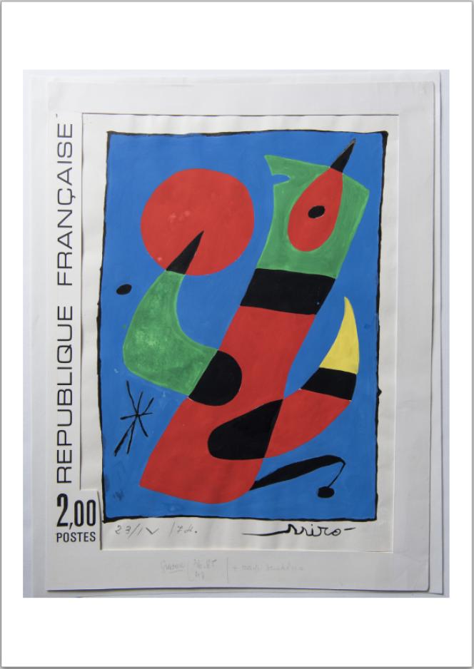 Joan Miro, oeuvre originale, maquette du timbre paru en 1974, gouache sur papier.