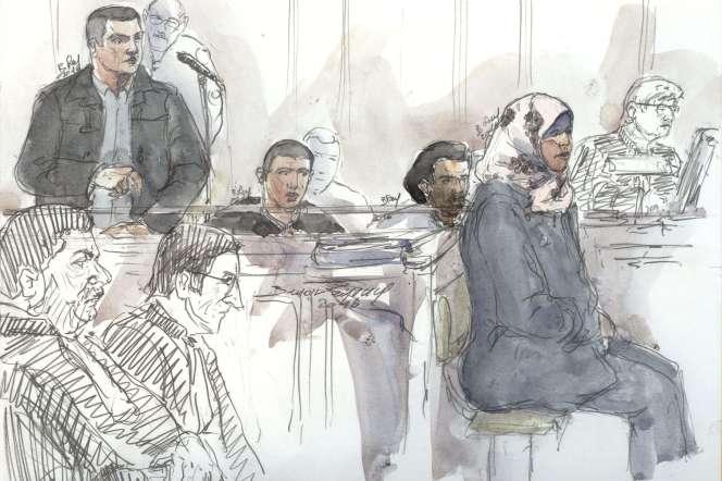 Dessin d'audience lors du procès de Bilal Taghi, à la cour d'assises spéciale de Paris.