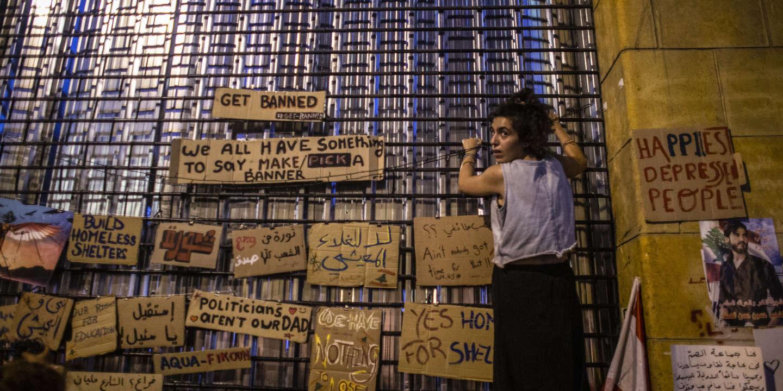 Mur d'expressions libres lors des manifestations anti-gouvernent, dans le centre de ville de Beyrouth au Liban, le 27 octobre 2019.