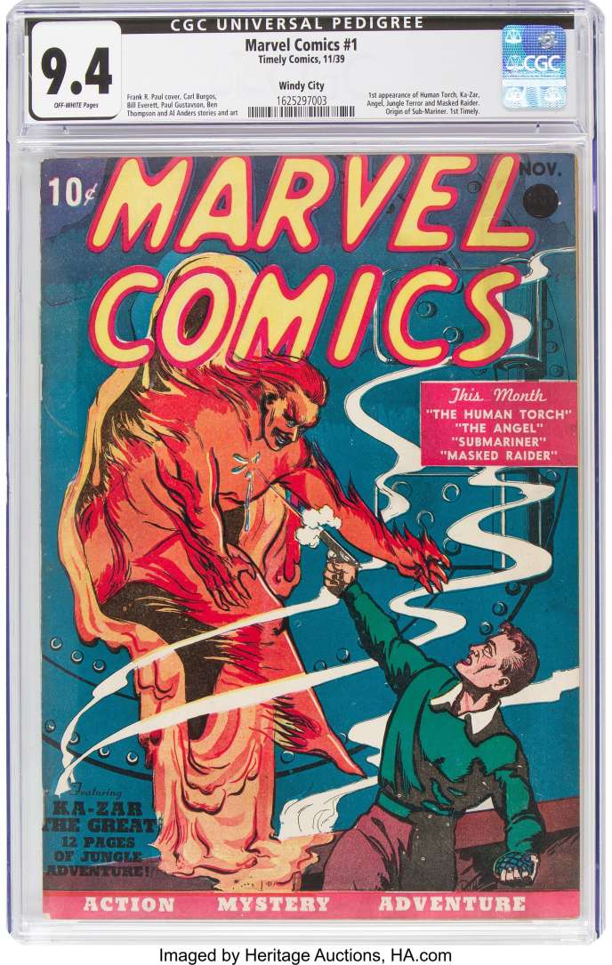Un exemplaire du n° 1 de «Marvel Comics» publié en 1939 au prix de 10cents, a été acquis aux enchères pour 1,26million de dollars, le 21 novembre.