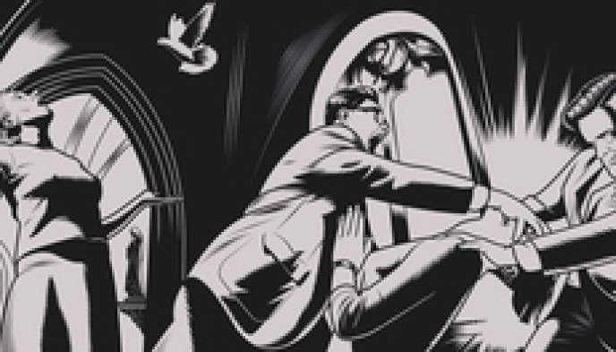 Dessin représentant les moyens agressifs de conversion sur les homosexuels. Ici, une scène d'exorcisme.