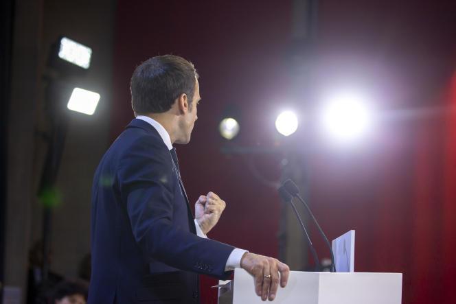 Emmanuel Macron, président de la république, prononce un discours lors de sa visite de l'Université de Picardie - Julles Vernes à Amiens, jeudi 21 novembre 2019 - 2019©Jean-Claude Coutausse pour Le Monde