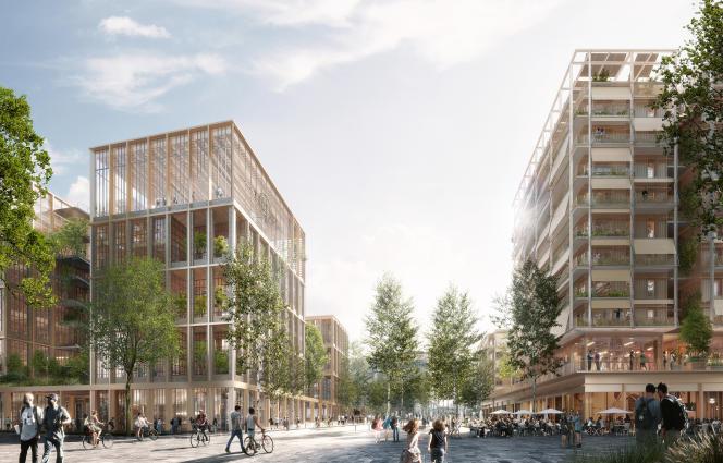 Les 52000m2 du secteur E seront construits par Nexity et Eiffage (photo).L'empreinte carbone des bâtiments sera réduite de 40% par rapport à des constructions actuelles classiques, avec une priorité donnée au bois pour matériau.