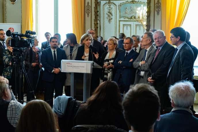 Valérie Pécresse, lors de sa conférence de presse, le 21 novembre, à Paris.