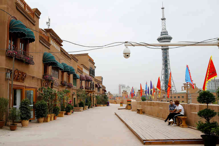 FILE PHOTO: A security camera is placed in a renovated section of the Old City in Kashgar, Xinjiang Uighur Autonomous Region, China September 6, 2018.  REUTERS/Thomas Peter/File Photo - RC2VAD94A7BP
