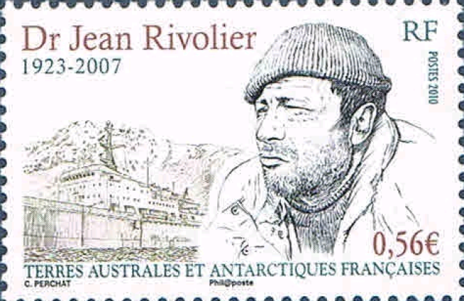 Timbre des TAAF dessiné par Claude Perchat à l'effigie du Dr Jean Rivolier.