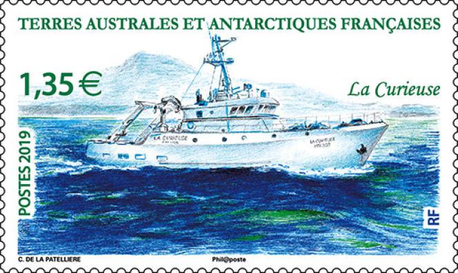 « La Curieuse», timbre desssiné par Cyril de La Patellière (2019).