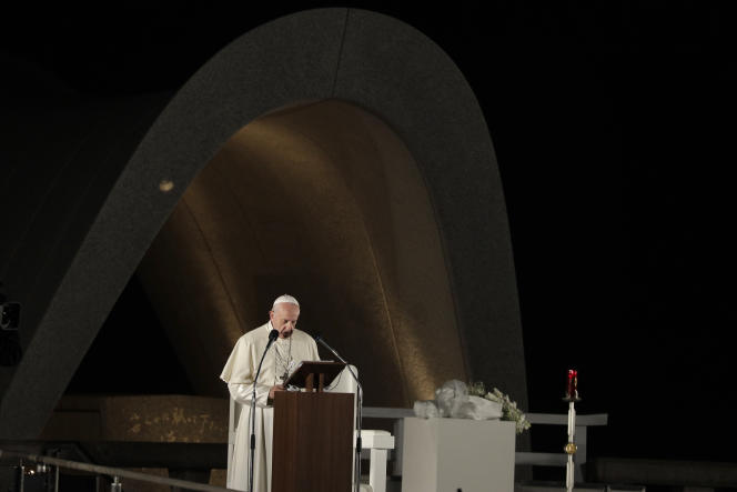 Le pape François au mémorial de la paix d'Hiroshima, dimanche 24 novembre.