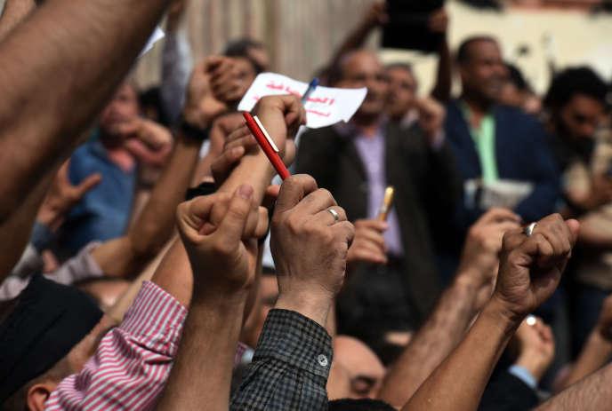 Manifestation de journalistes au Caire, en mai 2016.