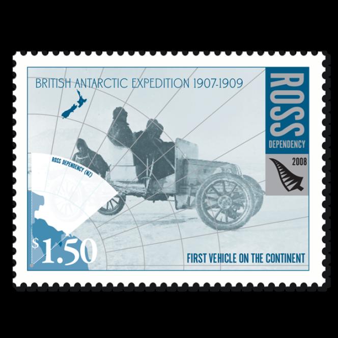 Timbre de Ross Dependency, premier véhicule à moteur sur le continent antarctique.