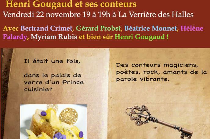 Affiche (détail) de la soirée Cabaret contes avec Henri Gougaud et ses élèves à La Verrière des Halles (Paris 1er), vendredi 22 novembre 2019.