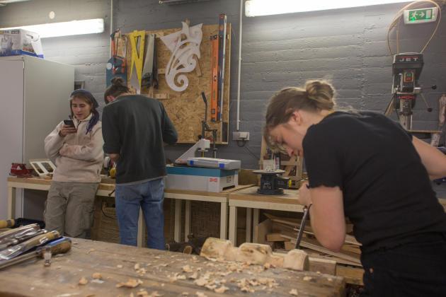 L'atelier de travail du bois, à la Villa Arson, à Nice, le 13 novembre 2019.